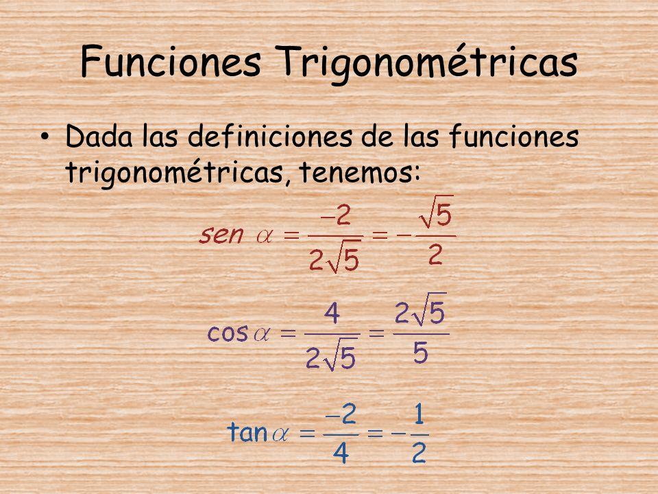 Funciones Trigonométricas Dada las definiciones de las funciones trigonométricas, tenemos: