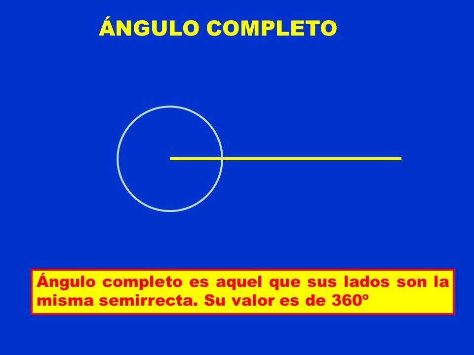 ÁNGULO COMPLETO Ángulo completo es aquel que sus lados son la misma semirrecta. Su valor es de 360º