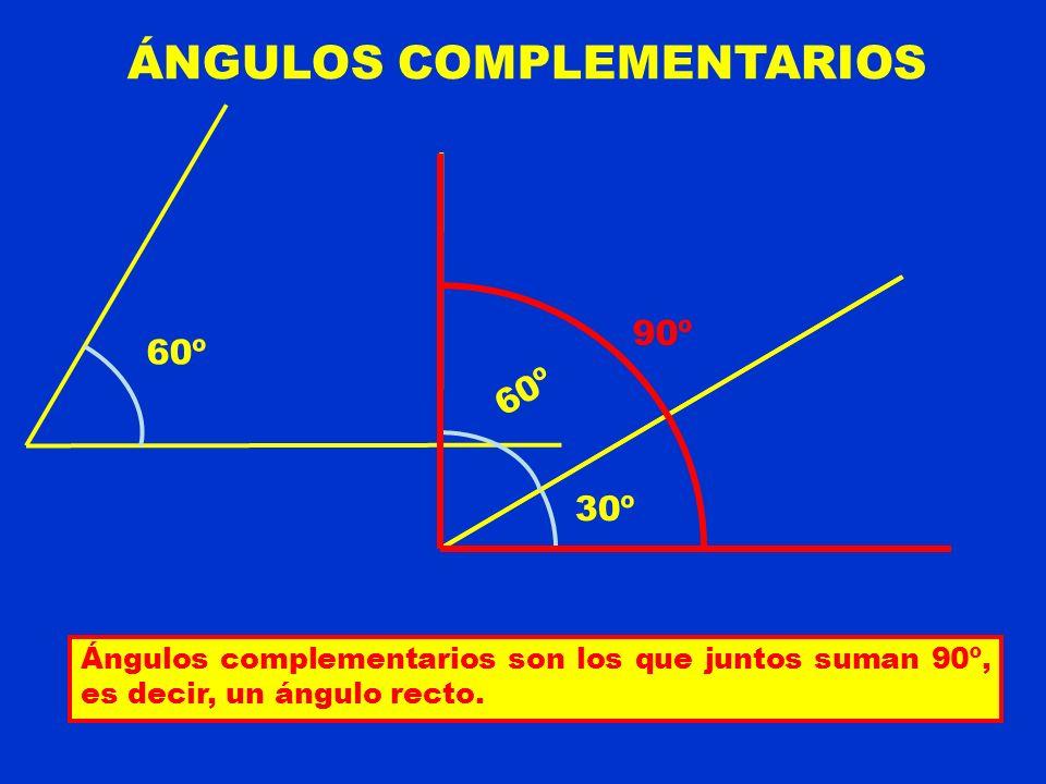 ÁNGULOS COMPLEMENTARIOS Ángulos complementarios son los que juntos suman 90º, es decir, un ángulo recto. 30º 60º 90º