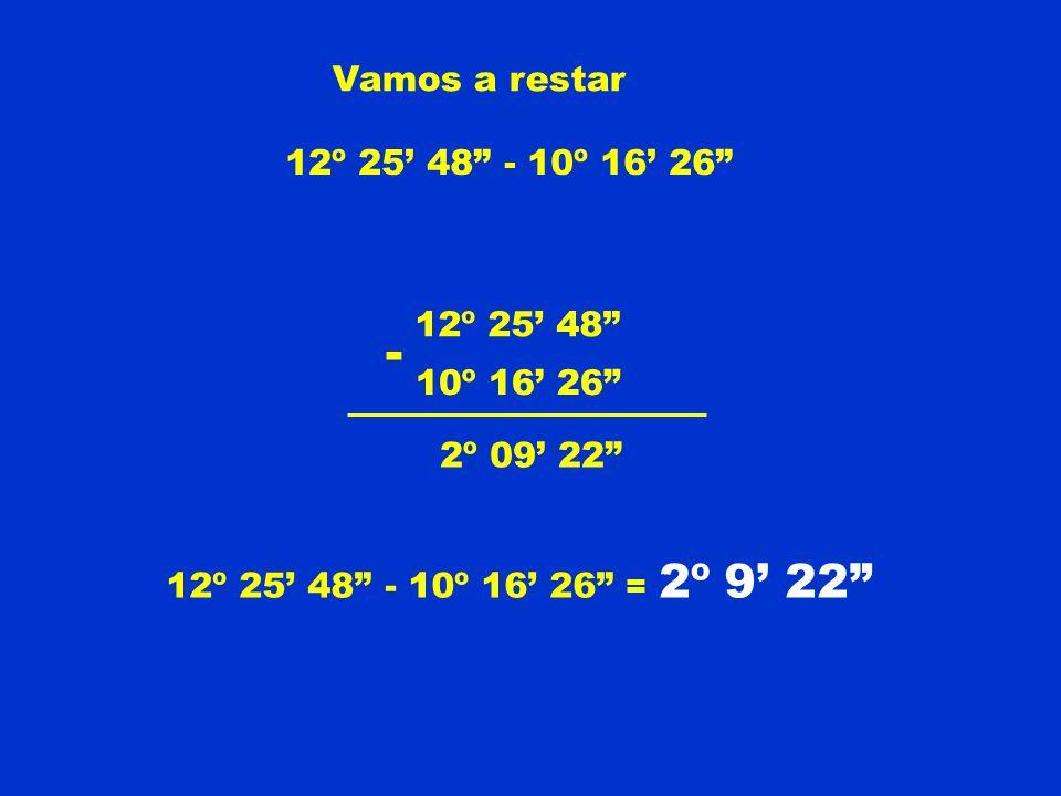 Vamos a restar 12º 25 48 - 10º 16 26 12º 25 48 10º 16 26 2º 09 22 12º 25 48 - 10º 16 26 = 2º 9 22 -