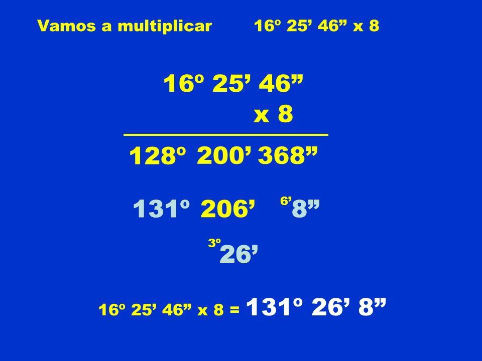 Vamos a multiplicar16º 25 46 x 8 16º 25 46 x 8 368200 128º 8 6 206 26 3º 131º 26 8 16º 25 46 x 8 = 131º 26 8