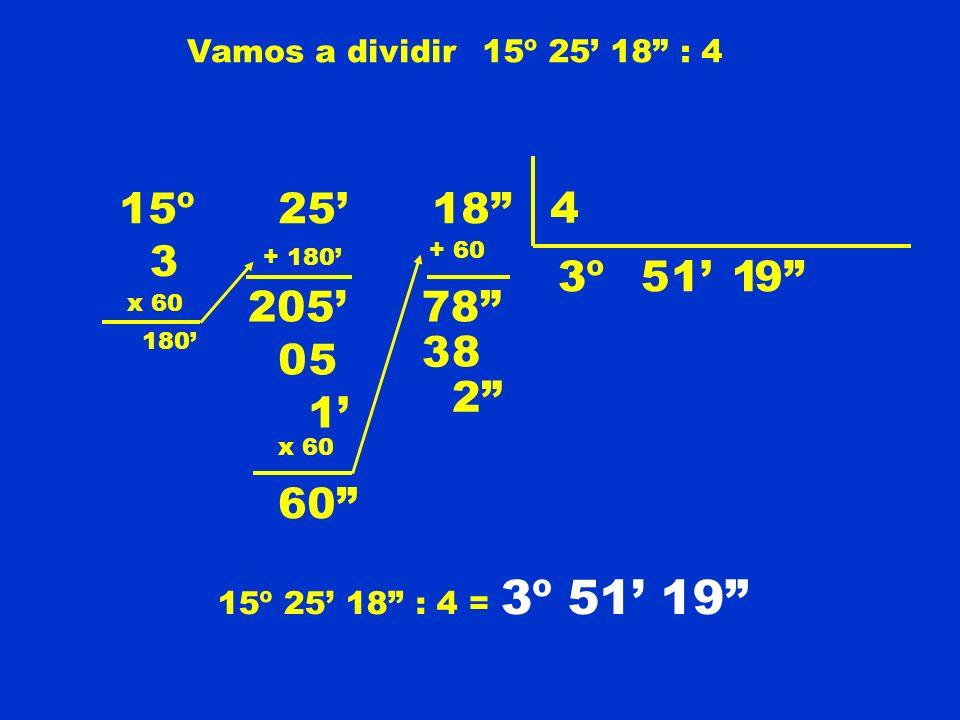 Vamos a dividir15º 25 18 : 4 15º 25 18 4 3º 3 x 60 180 + 180 205 5 05 1 x 60 60 + 60 78 1 3 8 9 2 15º 25 18 : 4 = 3º 51 19 1