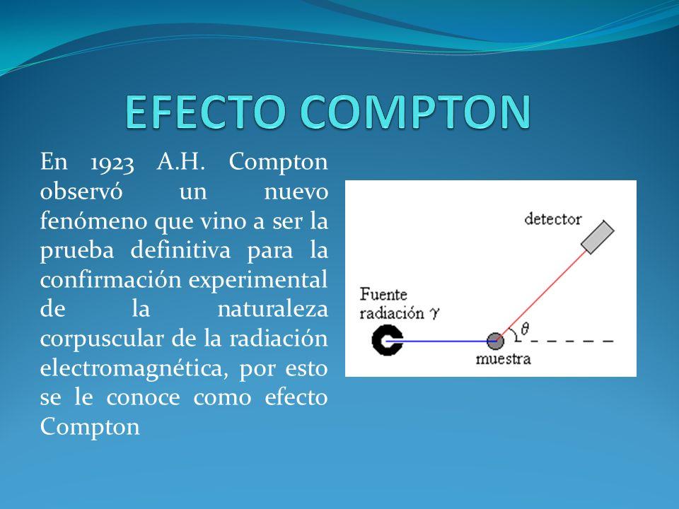 En 1923 A.H. Compton observó un nuevo fenómeno que vino a ser la prueba definitiva para la confirmación experimental de la naturaleza corpuscular de l