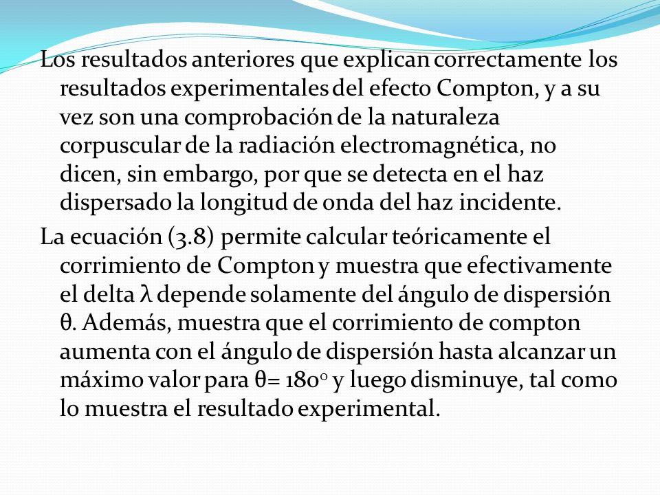 Los resultados anteriores que explican correctamente los resultados experimentales del efecto Compton, y a su vez son una comprobación de la naturalez