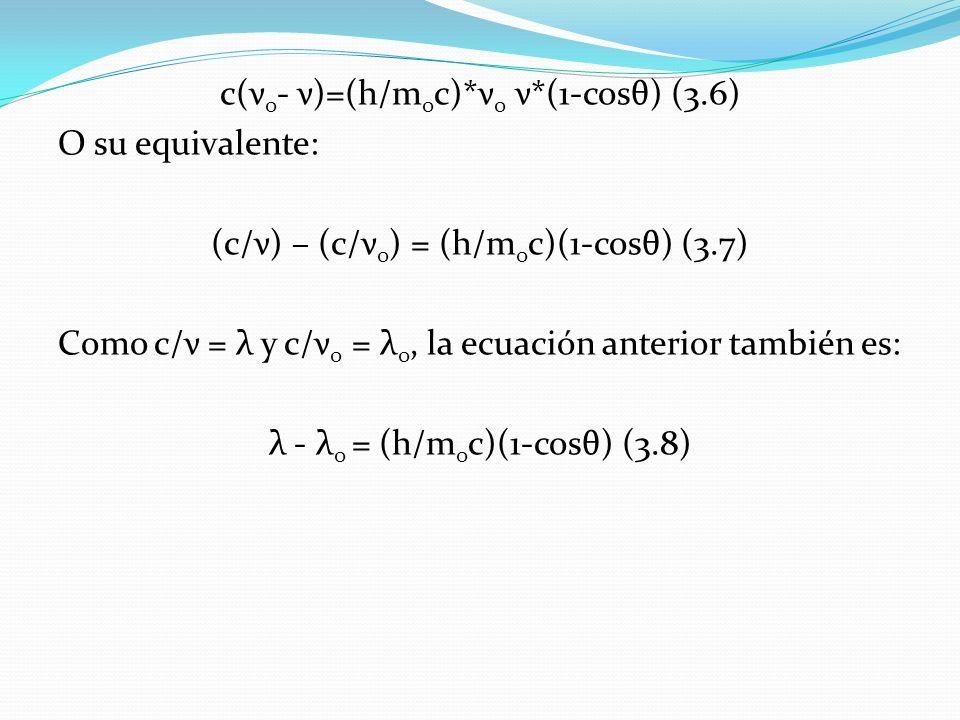 c(ν 0 - ν)=(h/m 0 c)*ν 0 ν*(1-cosθ) (3.6) O su equivalente: (c/ν) – (c/ν 0 ) = (h/m 0 c)(1-cosθ) (3.7) Como c/ν = λ y c/ν 0 = λ 0, la ecuación anterio