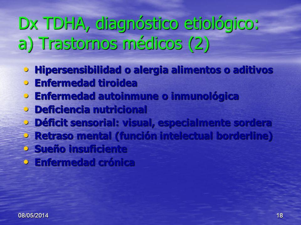 08/05/201417 Dx TDHA, diagnóstico etiológico: a) Trastornos médicos (1/9) TCE: secuela TCE: secuela Epilepsia Epilepsia Absceso o neoplasia de lóbulo