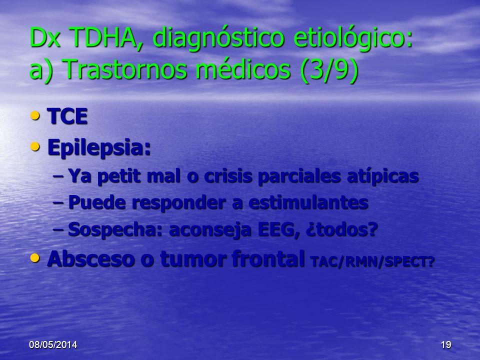08/05/201418 Dx TDHA, diagnóstico etiológico: a) Trastornos médicos (2) Hipersensibilidad o alergia alimentos o aditivos Hipersensibilidad o alergia a