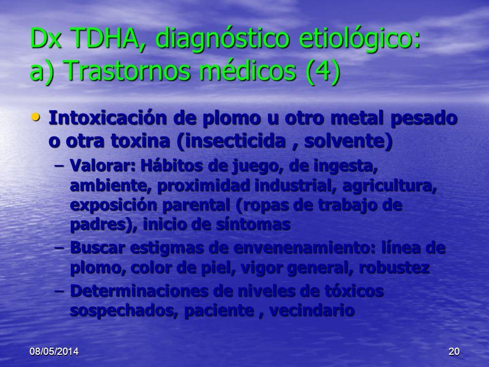 08/05/201419 Dx TDHA, diagnóstico etiológico: a) Trastornos médicos (3/9) TCE TCE Epilepsia: Epilepsia: –Ya petit mal o crisis parciales atípicas –Pue