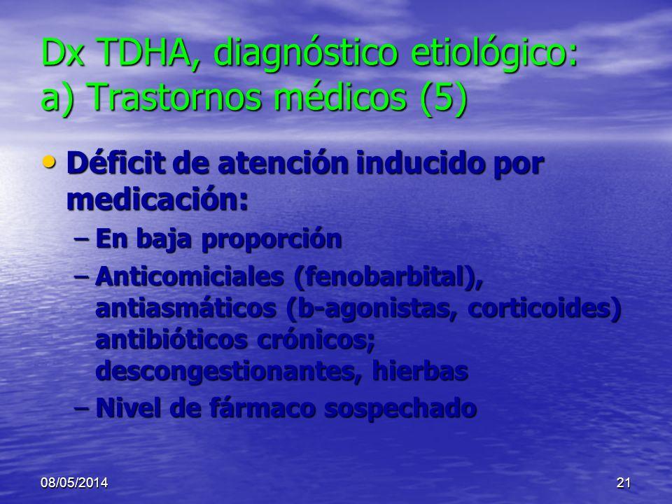 08/05/201420 Dx TDHA, diagnóstico etiológico: a) Trastornos médicos (4) Intoxicación de plomo u otro metal pesado o otra toxina (insecticida, solvente