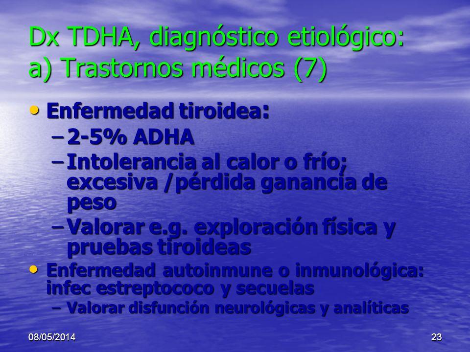 08/05/201422 Dx TDHA, diagnóstico etiológico: a) Trastornos médicos (6/9) Abuso de tóxicos Abuso de tóxicos Hipersensibilidad o alergia alimentos o ad
