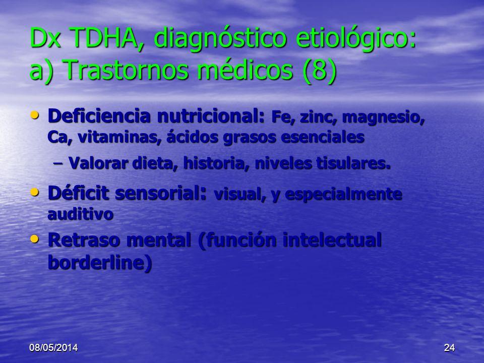 08/05/201423 Dx TDHA, diagnóstico etiológico: a) Trastornos médicos (7) Enfermedad tiroidea : Enfermedad tiroidea : –2-5% ADHA –Intolerancia al calor