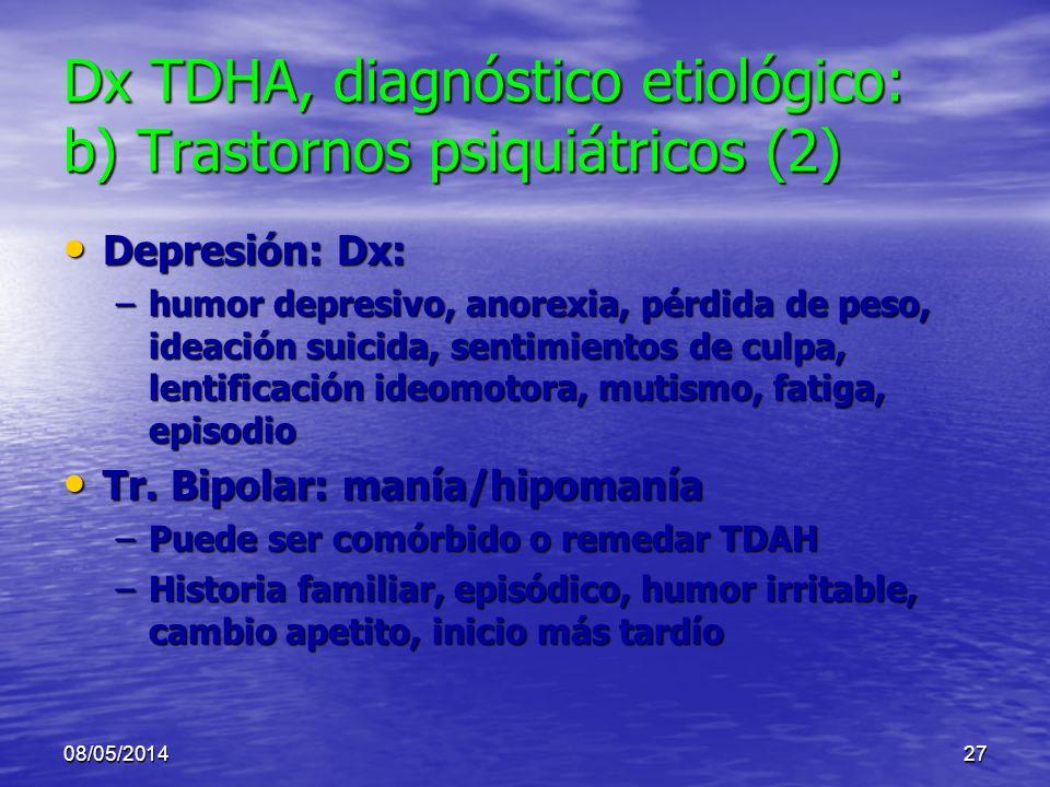08/05/201426 Dx TDHA, diagnóstico etiológico: b) Trastornos psiquiátricos (1) Depresión Depresión Tr. Bipolar: manía Tr. Bipolar: manía Ansiedad (incl