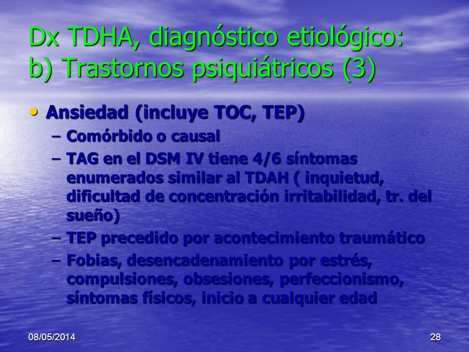 08/05/201427 Dx TDHA, diagnóstico etiológico: b) Trastornos psiquiátricos (2) Depresión: Dx: Depresión: Dx: –humor depresivo, anorexia, pérdida de pes