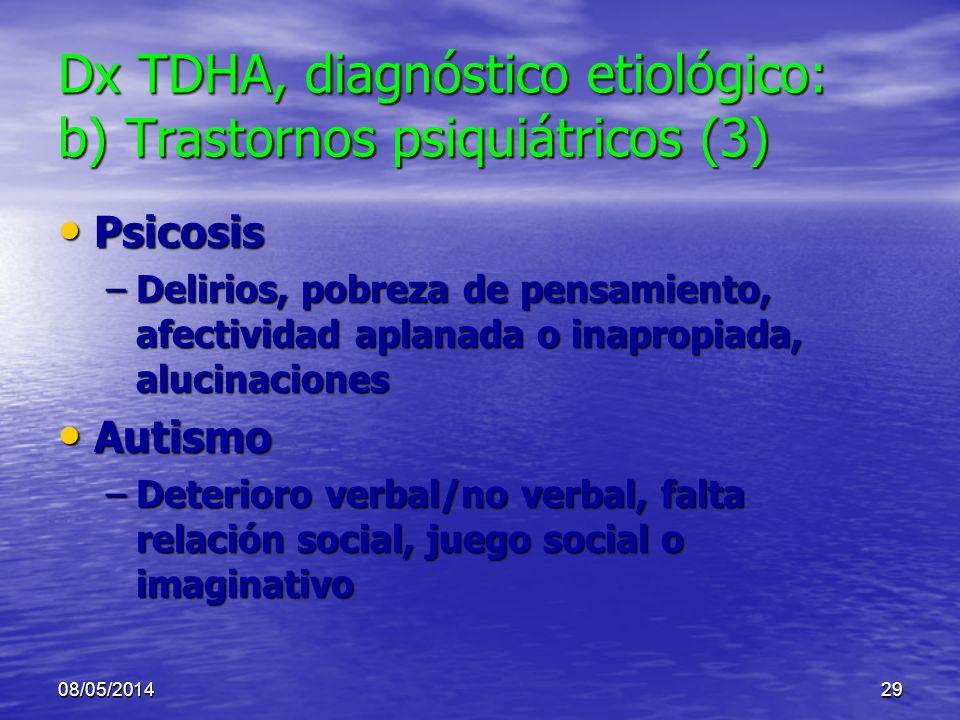 08/05/201428 Dx TDHA, diagnóstico etiológico: b) Trastornos psiquiátricos (3) Ansiedad (incluye TOC, TEP) Ansiedad (incluye TOC, TEP) –Comórbido o cau