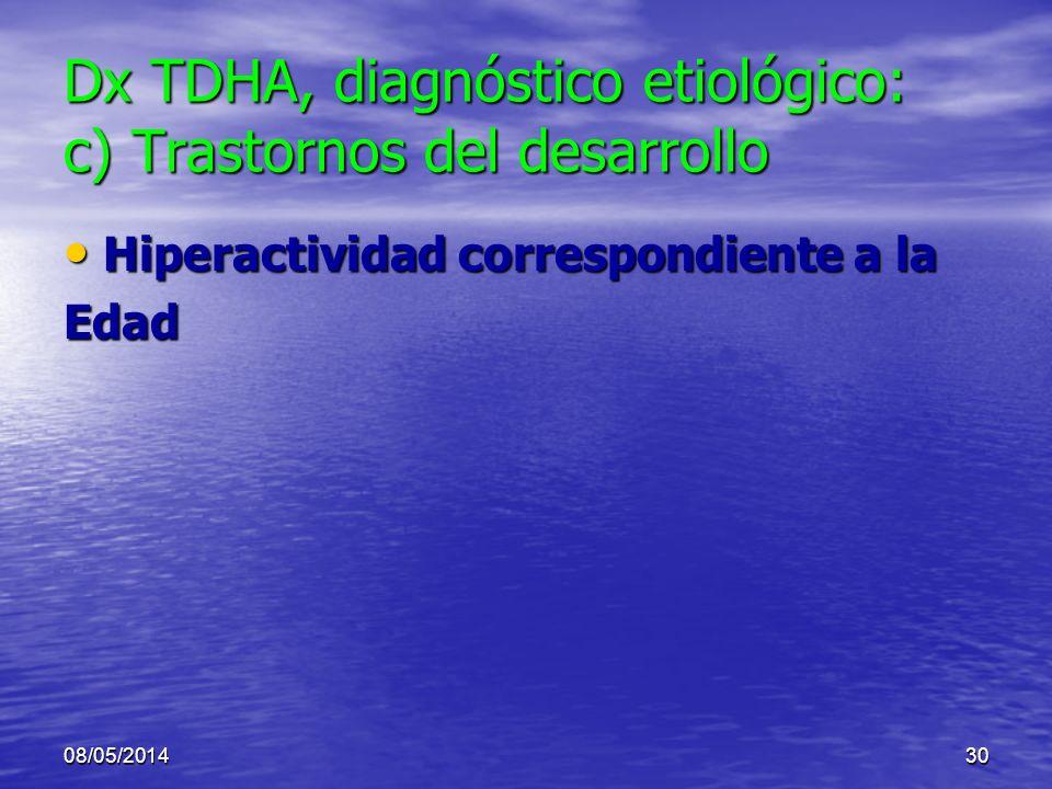 08/05/201429 Dx TDHA, diagnóstico etiológico: b) Trastornos psiquiátricos (3) Psicosis Psicosis –Delirios, pobreza de pensamiento, afectividad aplanad
