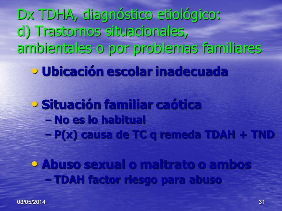 08/05/201430 Dx TDHA, diagnóstico etiológico: c) Trastornos del desarrollo Hiperactividad correspondiente a la Hiperactividad correspondiente a laEdad