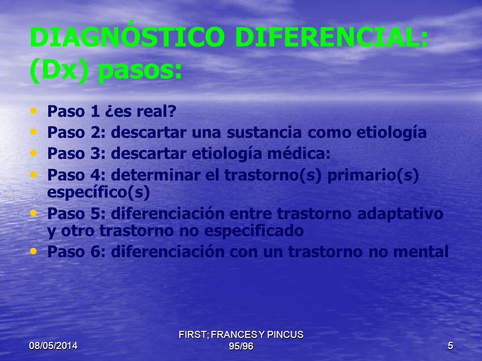 08/05/2014 FIRST; FRANCES Y PINCUS 95/965 DIAGNÓSTICO DIFERENCIAL: (Dx) pasos: Paso 1 ¿es real.