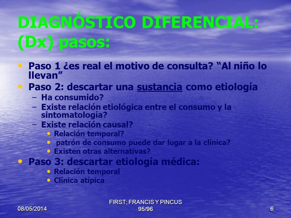 08/05/2014 FIRST; FRANCES Y PINCUS 95/965 DIAGNÓSTICO DIFERENCIAL: (Dx) pasos: Paso 1 ¿es real? Paso 2: descartar una sustancia como etiología Paso 3: