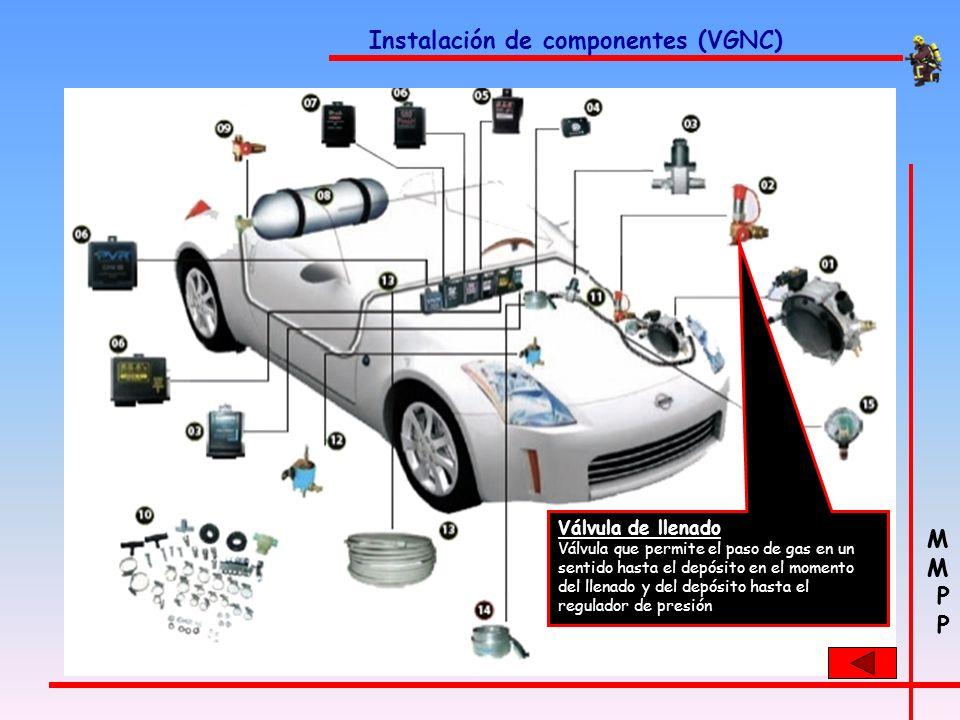 M P M P Instalación de componentes (VGNC) Reductor de presión Es el encargado de reducir la presión almacenada en los cilindros de 200 bar a presión a