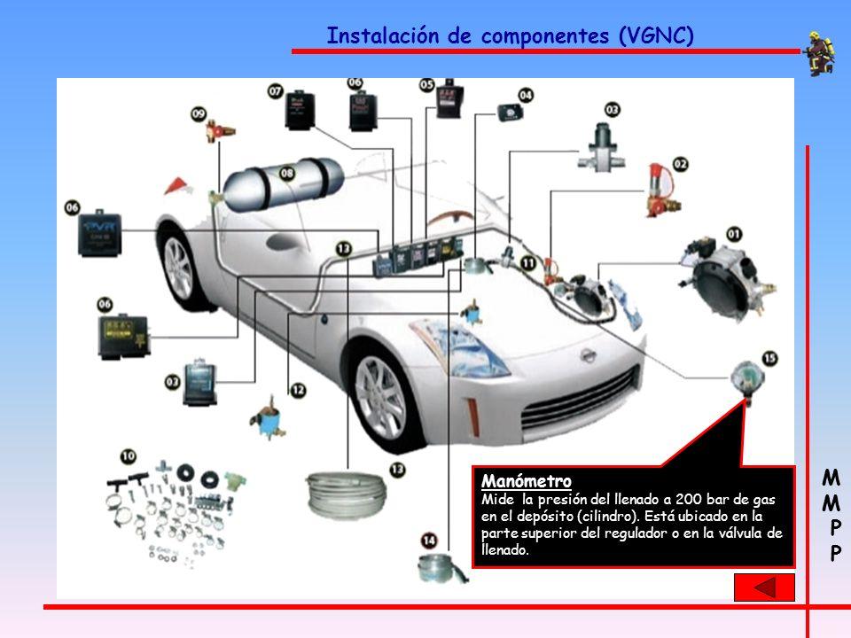 M P M P Instalación de componentes (VGNC) Mezclador Es el encargado de generar la mezcla aire-gas óptima antes de entrar en la cámara de combustión de