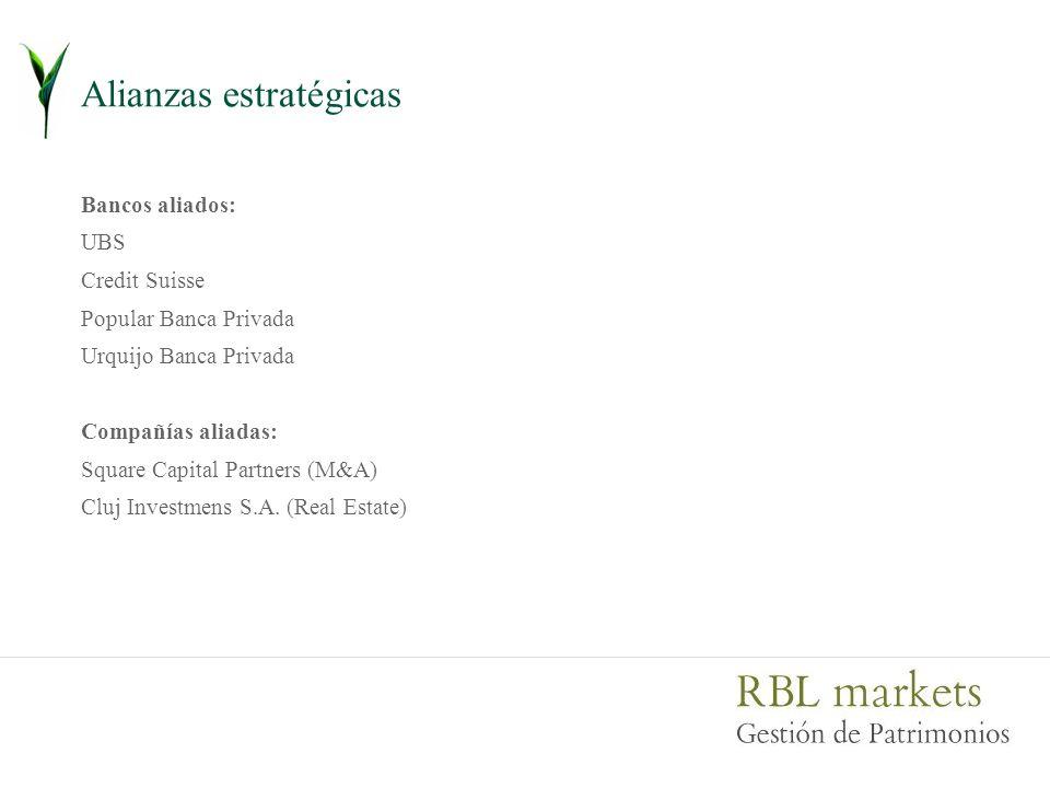 Alianzas estratégicas Bancos aliados: UBS Credit Suisse Popular Banca Privada Urquijo Banca Privada Compañías aliadas: Square Capital Partners (M&A) Cluj Investmens S.A.