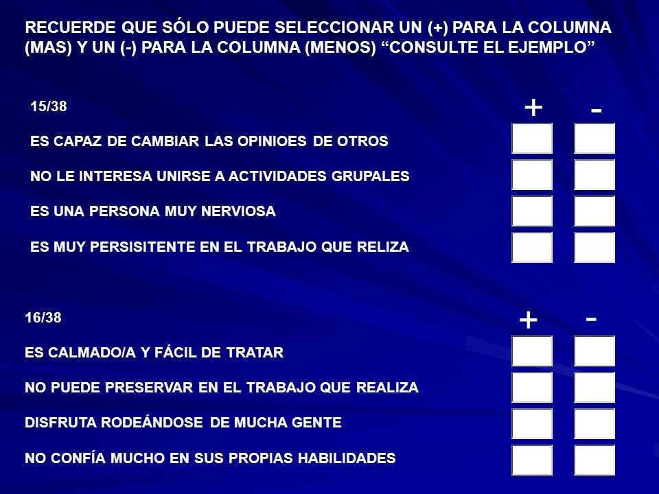 13/38 SE SIENTE LIBRE DE INQUIETUDES Y PREOCUPACIONES LE FALTA SENTIDO DE RESPONSABILIDAD NO LE INTERESA RELACIONARSE CON EL SEXO OPUESTO ES HÁBIL PARA TRATAR A OTRAS PERSONAS 14/38 LE RESILTA FÁCIL SER AMISTOSO/A PREFIERE QUE OTROS DIRIJAN LAS ACTIVIDADES DE GRUPO PARECE ESTAR SIEMPRE PREOCUPADO/A PRESERVA EN UN TRABAJO A PESAR DE LOS PROBLEMAS RECUERDE QUE SÓLO PUEDE SELECCIONAR UN (+) PARA LA COLUMNA (MAS) Y UN (-) PARA LA COLUMNA (MENOS) CONSULTE EL EJEMPLO +- + -