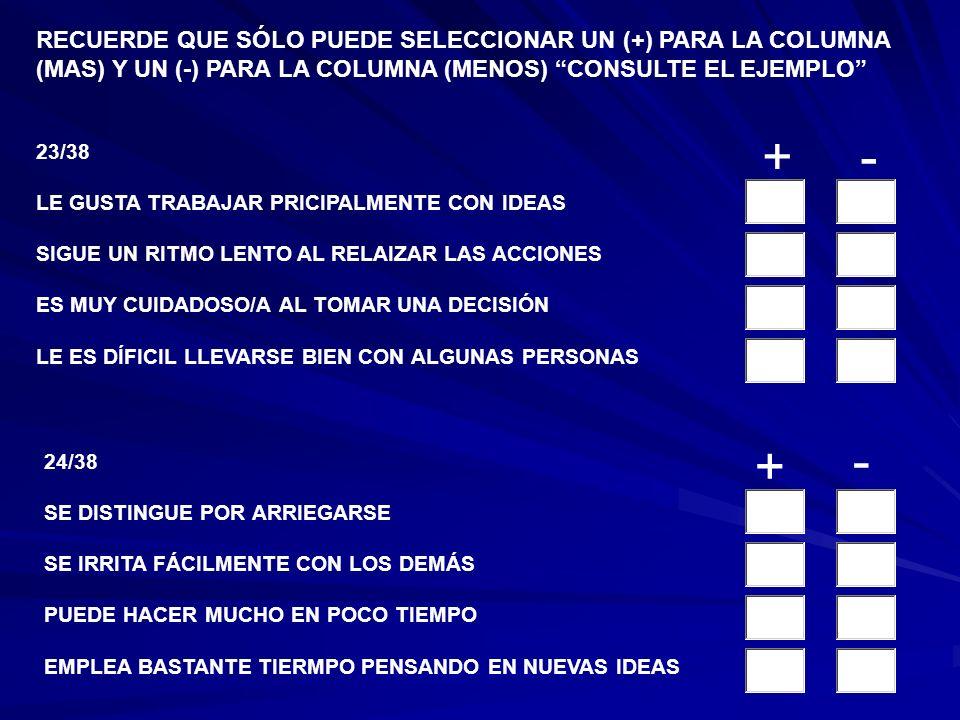21/38 ES UNA PERSONA MUY ACTIVA NO SE ENOJA CON LOS DEMÁS LE GUSTA TRABAJAR CON PROBLEMAS COMPEJOS Y DÍFICILES PREFIER REUNIONES ANIMADAS A REUNIONES TRANQUILAS 22/38 DISFRUTA LAS DISCUSIONE FILOSÓFICAS SE CANSA FÁCILMENTE PIENSA LAS COSAS CON MUCHO CUIDAD ANTES DE ACTUAR NO CONFÍA MUCHO EN LA GENTE RECUERDE QUE SÓLO PUEDE SELECCIONAR UN (+) PARA LA COLUMNA (MAS) Y UN (-) PARA LA COLUMNA (MENOS) CONSULTE EL EJEMPLO +- + -