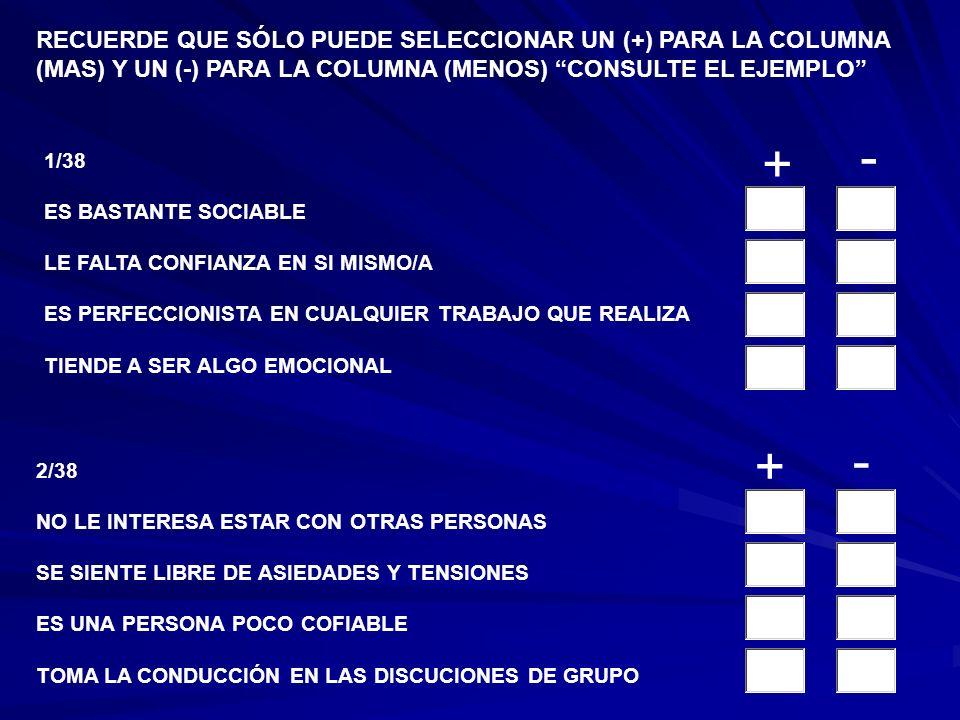 1/38 ES BASTANTE SOCIABLE LE FALTA CONFIANZA EN SI MISMO/A ES PERFECCIONISTA EN CUALQUIER TRABAJO QUE REALIZA TIENDE A SER ALGO EMOCIONAL 2/38 NO LE INTERESA ESTAR CON OTRAS PERSONAS SE SIENTE LIBRE DE ASIEDADES Y TENSIONES ES UNA PERSONA POCO COFIABLE TOMA LA CONDUCCIÓN EN LAS DISCUCIONES DE GRUPO + - + - RECUERDE QUE SÓLO PUEDE SELECCIONAR UN (+) PARA LA COLUMNA (MAS) Y UN (-) PARA LA COLUMNA (MENOS) CONSULTE EL EJEMPLO