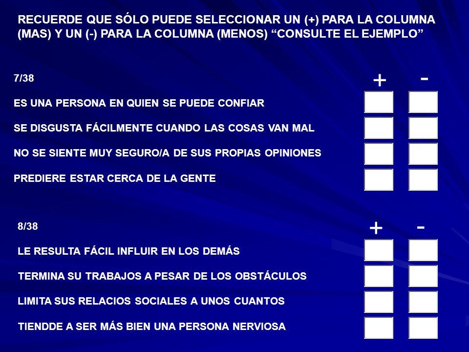 5/38 ES CAPAZ DE TOMAR DECISIONES IMPORTANTES SIN AYUDA NO SE RELACIONA FACILMENTE CON GENTE DESCONOCIDA TIEDE A SENTIRSE TENSO/A O MUY PRESIONADO/A CONCLUYE EL TRABAJO A PESAR DE LOS PROBLEMAS 6/38 NO LE INTERESA MUCHO SER SOCIABLE NO TOMA EN SERIO SUS RESPOSABILIDADES SE MANTIEN ESTABLE Y SERENO TOPMA EL MANDO EN ACTIVIDADES DE GRUPO RECUERDE QUE SÓLO PUEDE SELECCIONAR UN (+) PARA LA COLUMNA (MAS) Y UN (-) PARA LA COLUMNA (MENOS) CONSULTE EL EJEMPLO + - + -