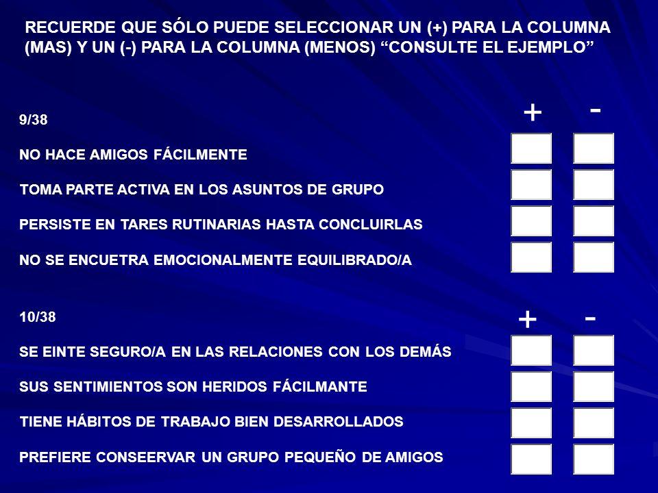 9/38 NO HACE AMIGOS FÁCILMENTE TOMA PARTE ACTIVA EN LOS ASUNTOS DE GRUPO PERSISTE EN TARES RUTINARIAS HASTA CONCLUIRLAS NO SE ENCUETRA EMOCIONALMENTE EQUILIBRADO/A 10/38 SE EINTE SEGURO/A EN LAS RELACIONES CON LOS DEMÁS SUS SENTIMIENTOS SON HERIDOS FÁCILMANTE TIENE HÁBITOS DE TRABAJO BIEN DESARROLLADOS PREFIERE CONSEERVAR UN GRUPO PEQUEÑO DE AMIGOS RECUERDE QUE SÓLO PUEDE SELECCIONAR UN (+) PARA LA COLUMNA (MAS) Y UN (-) PARA LA COLUMNA (MENOS) CONSULTE EL EJEMPLO + - + -