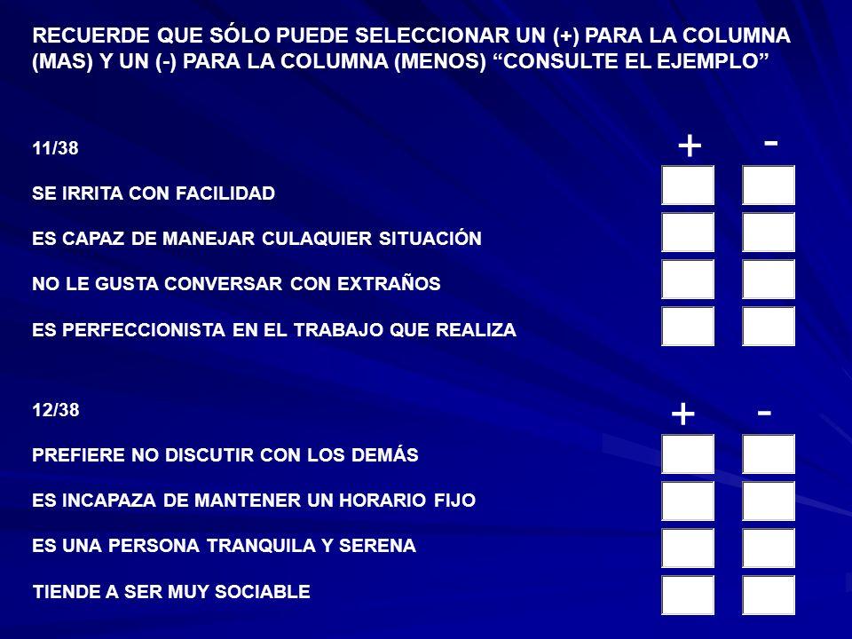 9/38 NO HACE AMIGOS FÁCILMENTE TOMA PARTE ACTIVA EN LOS ASUNTOS DE GRUPO PERSISTE EN TARES RUTINARIAS HASTA CONCLUIRLAS NO SE ENCUETRA EMOCIONALMENTE
