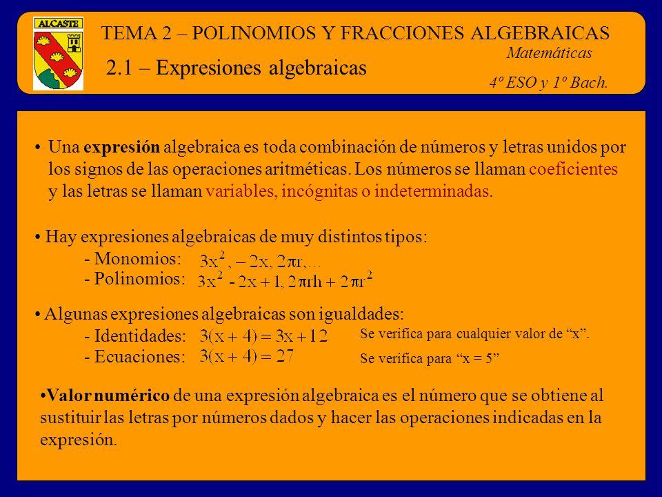 TEMA 2 – POLINOMIOS Y FRACCIONES ALGEBRAICAS Matemáticas 4º ESO y 1º Bach. 2.1 – Expresiones algebraicas Una expresión algebraica es toda combinación