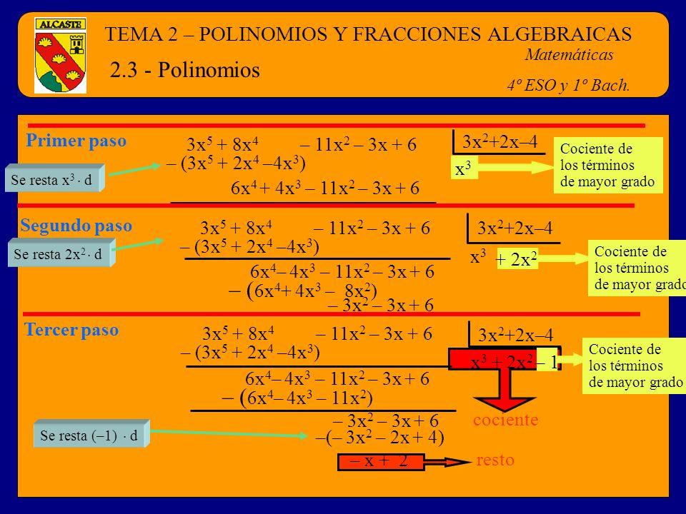 TEMA 2 – POLINOMIOS Y FRACCIONES ALGEBRAICAS Matemáticas 4º ESO y 1º Bach. 2.3 - Polinomios resto –(– 3x 2 – 2x + 4) Se resta (–1). d cociente Cocient