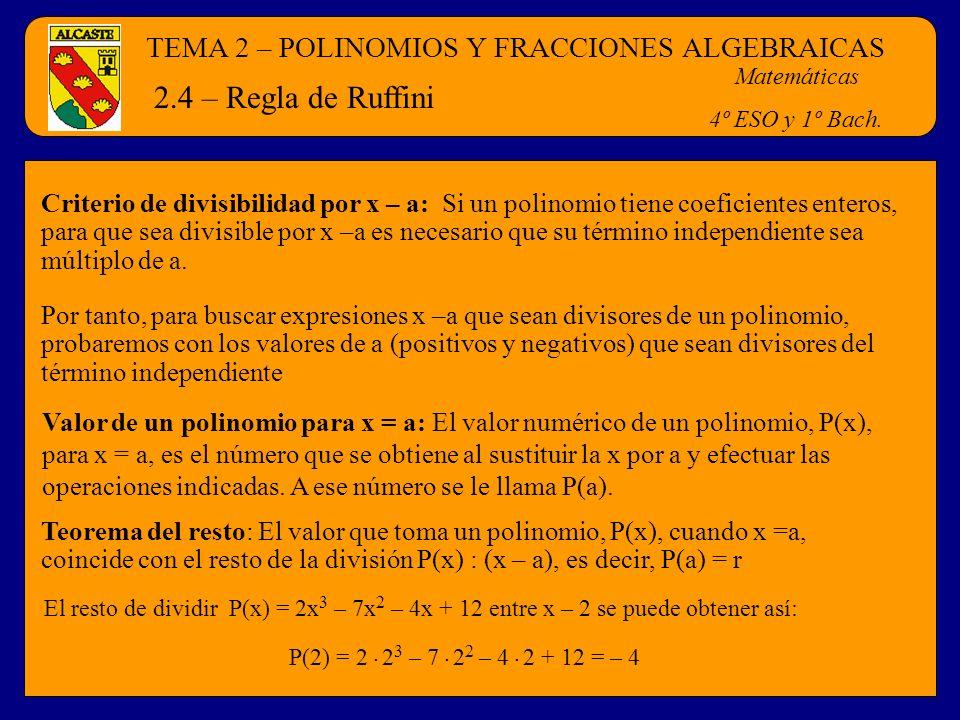 TEMA 2 – POLINOMIOS Y FRACCIONES ALGEBRAICAS Matemáticas 4º ESO y 1º Bach. 2.4 – Regla de Ruffini Criterio de divisibilidad por x – a: Si un polinomio