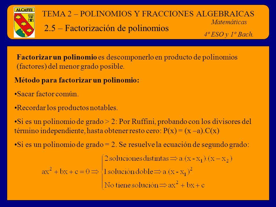 TEMA 2 – POLINOMIOS Y FRACCIONES ALGEBRAICAS Matemáticas 4º ESO y 1º Bach. 2.5 – Factorización de polinomios Factorizar un polinomio es descomponerlo