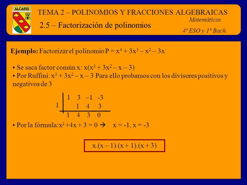 TEMA 2 – POLINOMIOS Y FRACCIONES ALGEBRAICAS Matemáticas 4º ESO y 1º Bach. 2.5 – Factorización de polinomios Ejemplo: Factorizar el polinomio P = x 4