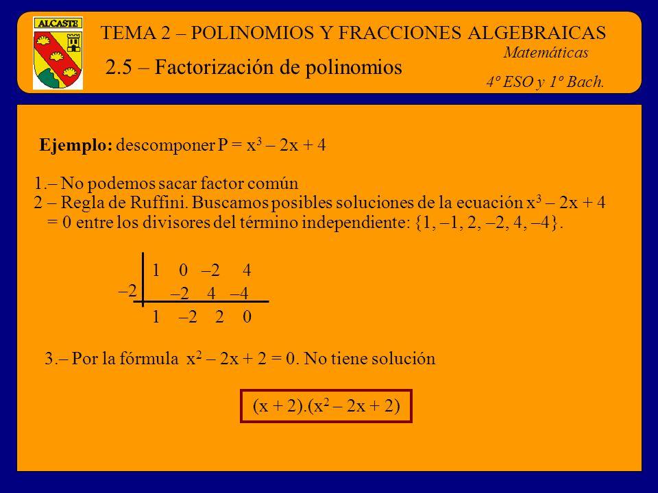 TEMA 2 – POLINOMIOS Y FRACCIONES ALGEBRAICAS Matemáticas 4º ESO y 1º Bach. 2.5 – Factorización de polinomios Ejemplo: descomponer P = x 3 – 2x + 4 1.–