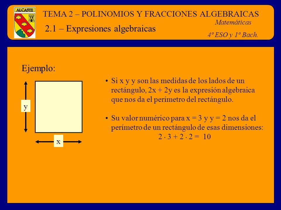 TEMA 2 – POLINOMIOS Y FRACCIONES ALGEBRAICAS Matemáticas 4º ESO y 1º Bach. 2.1 – Expresiones algebraicas x y Si x y y son las medidas de los lados de