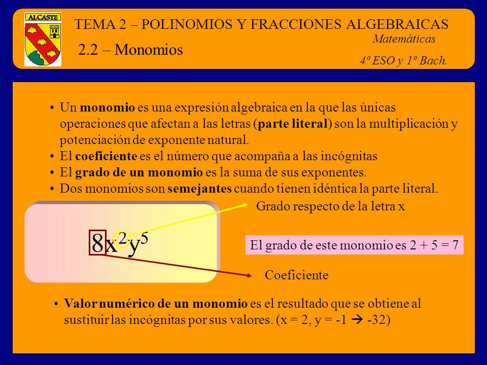 TEMA 2 – POLINOMIOS Y FRACCIONES ALGEBRAICAS Matemáticas 4º ESO y 1º Bach. 2.2 – Monomios Un monomio es una expresión algebraica en la que las únicas