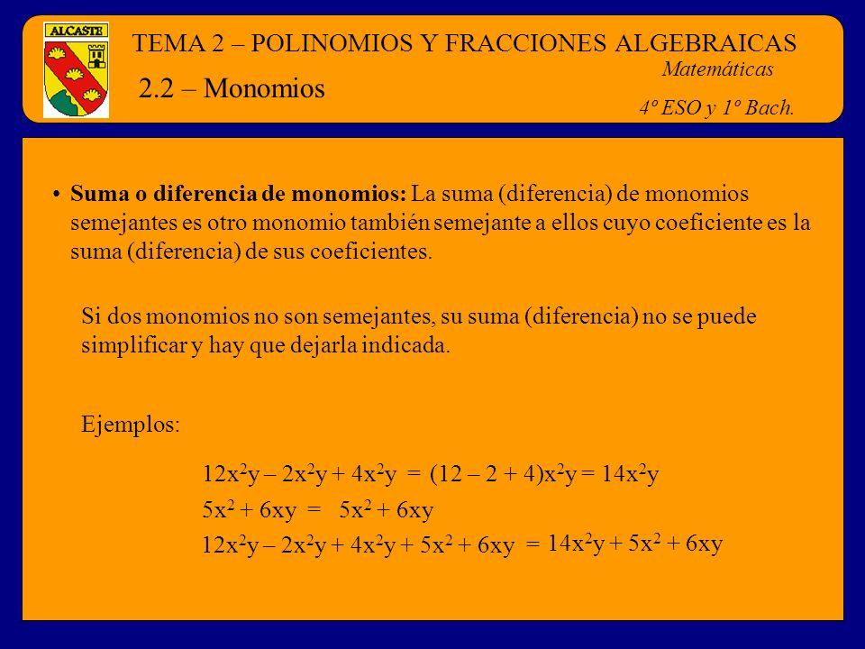TEMA 2 – POLINOMIOS Y FRACCIONES ALGEBRAICAS Matemáticas 4º ESO y 1º Bach. 2.2 – Monomios Suma o diferencia de monomios: La suma (diferencia) de monom