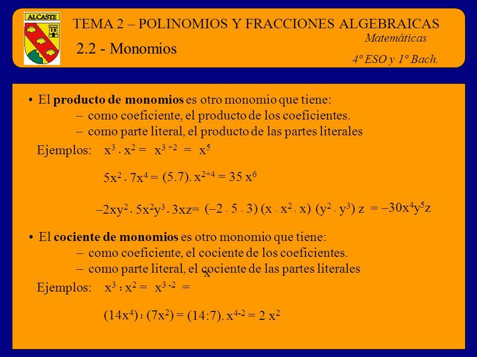 TEMA 2 – POLINOMIOS Y FRACCIONES ALGEBRAICAS Matemáticas 4º ESO y 1º Bach. 2.2 - Monomios El producto de monomios es otro monomio que tiene: –como coe