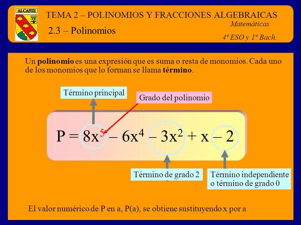 TEMA 2 – POLINOMIOS Y FRACCIONES ALGEBRAICAS Matemáticas 4º ESO y 1º Bach. 2.3 – Polinomios Un polinomio es una expresión que es suma o resta de monom