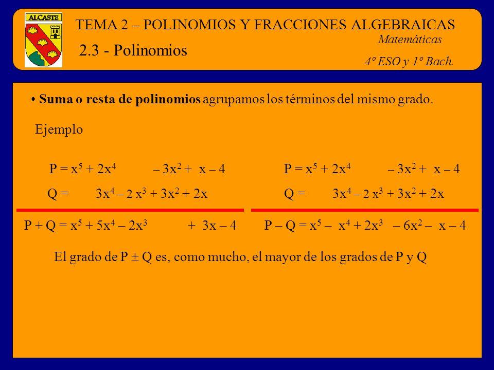 TEMA 2 – POLINOMIOS Y FRACCIONES ALGEBRAICAS Matemáticas 4º ESO y 1º Bach. 2.3 - Polinomios Suma o resta de polinomios agrupamos los términos del mism