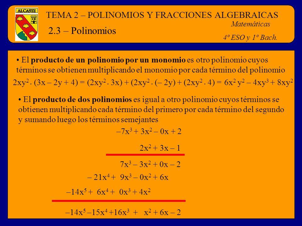 TEMA 2 – POLINOMIOS Y FRACCIONES ALGEBRAICAS Matemáticas 4º ESO y 1º Bach. 2.3 – Polinomios El producto de dos polinomios es igual a otro polinomio cu