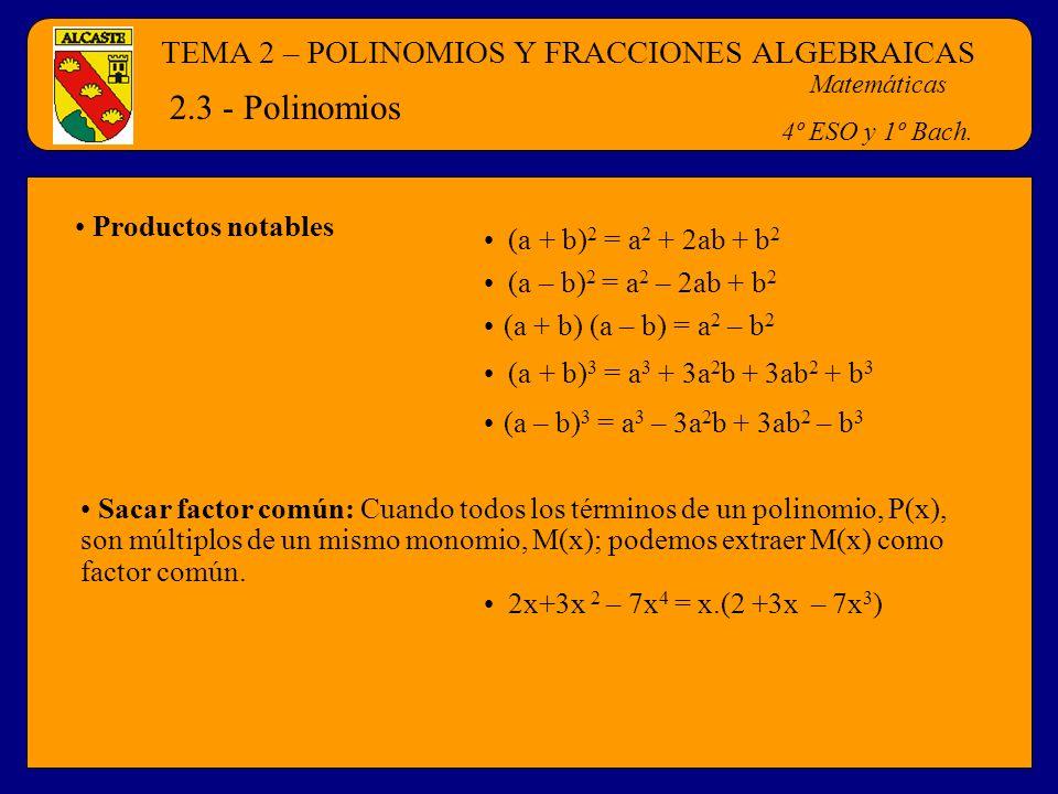 TEMA 2 – POLINOMIOS Y FRACCIONES ALGEBRAICAS Matemáticas 4º ESO y 1º Bach. 2.3 - Polinomios Productos notables (a + b) 2 = a 2 + 2ab + b 2 (a – b) 2 =