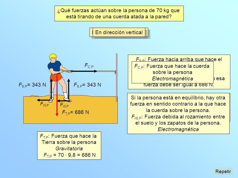 En dirección horizontal F S,P : Fuerza hacia arriba que hace el suelo sobre la persona. Electromagnética Como la persona está en equilibrio esa fuerza