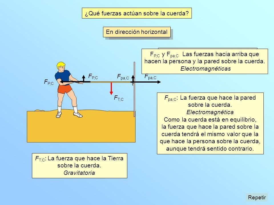 F P,C F P,C : La fuerza que hace la persona sobre la cuerda. Electromagnética F P,C F pa,C : La fuerza que hace la pared sobre la cuerda. Electromagné