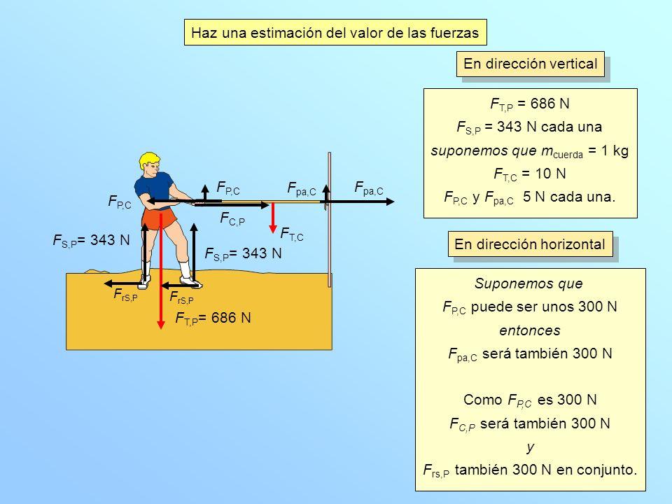 Haz una estimación del valor de las fuerzas F P,C F T,P = 686 N F S,P = 343 N cada una suponemos que m cuerda = 1 kg F T,C = 10 N F P,C y F pa,C 5 N c