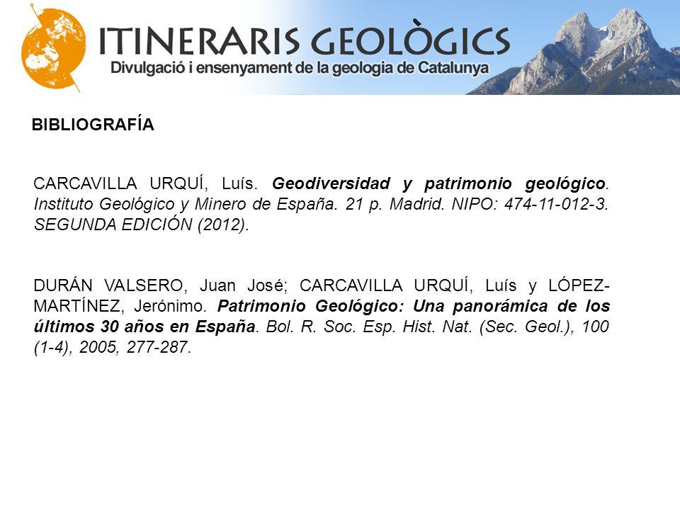 BIBLIOGRAFÍA CARCAVILLA URQUÍ, Luís. Geodiversidad y patrimonio geológico. Instituto Geológico y Minero de España. 21 p. Madrid. NIPO: 474-11-012-3. S