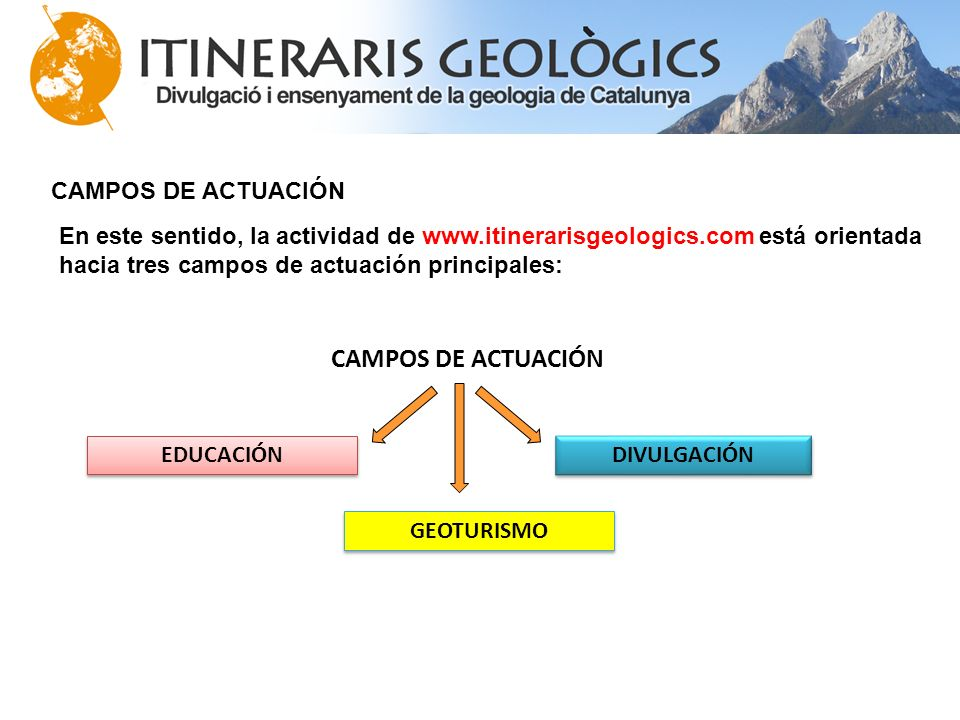 CAMPOS DE ACTUACIÓN En este sentido, la actividad de www.itinerarisgeologics.com está orientada hacia tres campos de actuación principales: CAMPOS DE